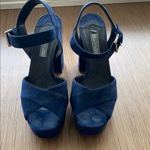 Prada blue suede platform sandals.